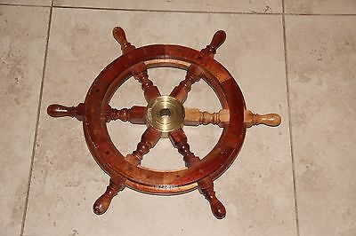 "18"" Ship Steering Wheel Wooden Pirate Boat Wall Decor Vintage Nautical Wood 18"""