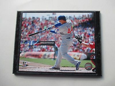 """Anthony Rizzo Chicago Cubs Home Run Action Photo Mounted On A '9 X 12"""" Black Mar"""