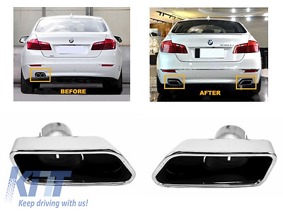 Exhaust Tips Muffler BMW 5er Sedan Touring F10 F11 F18 550i V8 LCI Square Look