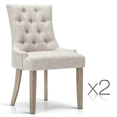 Set of 2 French Provincial Dining Chair - Beige