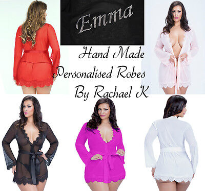 AU Plus Size Hand Made Personalised Name Word Wedding Bridal Robes By Rachael K
