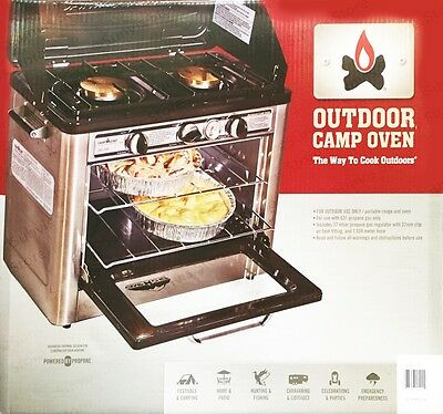 CAMP CHEF Portable Outdoor Camping LPG Gas Oven Hob with 2 Burner Rings