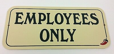 """Authentic Chili's Restaurant """"Employees Only"""" Wall Sign Advertising Chilis"""