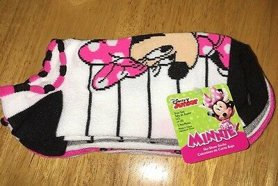 NWT Disney Minnie Mouse 5 Pair Of Girls No Show Socks Size Large 4-10 CUTE!