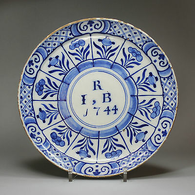Antique Dutch Delft blue and white plate, dated 1744