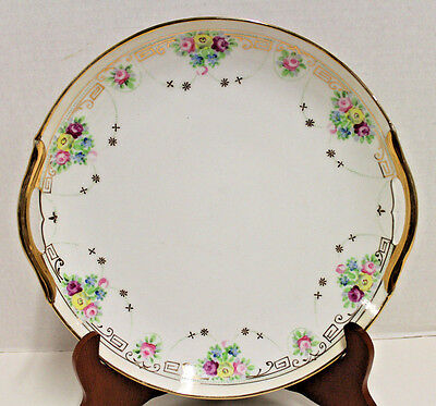 Vintage Nippon Hand Painted Handled Cake Plate Pink Blue Flowers Gold Trim