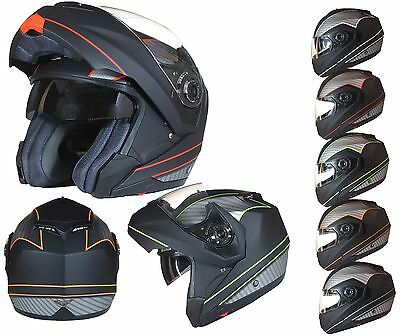 MODULAR Flip up Front Helmet DOUBLE Visor MOTORCYCLE bike Matt BLACK Graphic