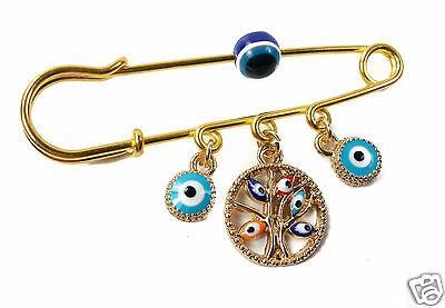 Pin Stroller Baby carriage Charm Luck Medal Amulet Evil Eye Protection Beads