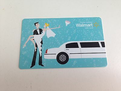 WAL-MART Gift Card ZERO $ BALANCE, WEDDING COUPLE LIMO, No Value