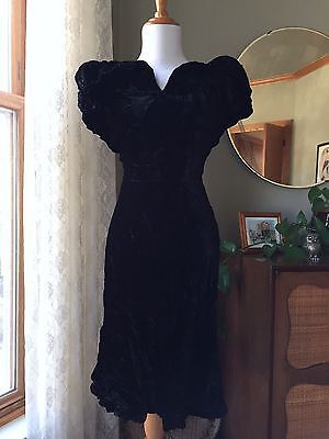 30s Dress Crushed Black Velvet Vintage 1930s Big Puffed Shoulders Rare Art Deco