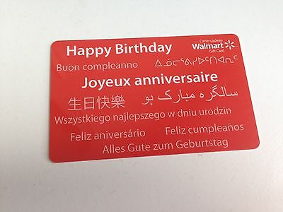 WAL-MART Gift Card ZERO $ BALANCE, HAPPY BIRTHDAY MULTI LANGUAGE , No Value