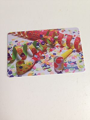 WAL-MART Gift Card ZERO $ BALANCE, CELEBRATION STREAMERS, No Value