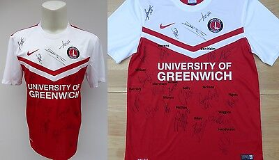 2014-15 Charlton Athletic Home Shirt Signed by 1st Team Squad (10163)