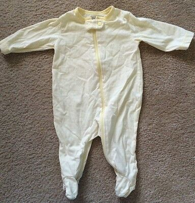 Yellow & White Striped Baby Pajamas, Size 0-3 Months, Zipper, Long Sleeves