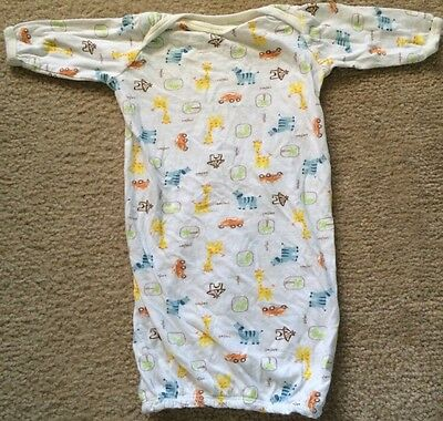 Carter's Baby White Safari Sleep Gown, Size S (0-3 Months), Thin, Long-Sleeved