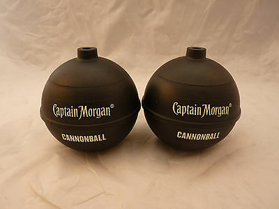 Set of 2 Captain Morgan Cannonball Rum Black Cup NO STRAW