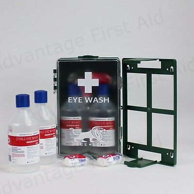 Double Eye Wound Wash First Aid Station in Wall Mount Case. Bottles & Dressings