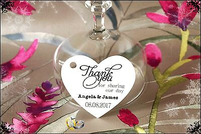 20-100 Wedding Heart Personalised Thank You Favour Gift Tags Labels