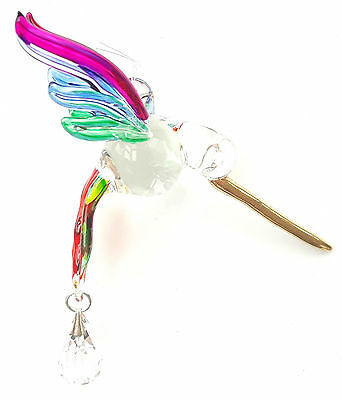 Fantasy Glass Hummingbird Suncatcher With A Swarovski Crystal - Rainbow