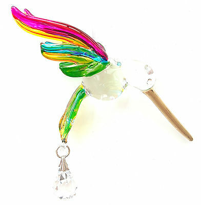 Fantasy Glass Hummingbird Suncatcher With A Swarovski Crystal - Tropical