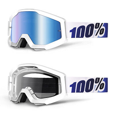 2017 100% Strata Motocross Mx Bike Mtb Goggles Ice Age White