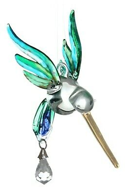 Fantasy Glass Hummingbird Suncatcher With A Swarovski Crystal - Peacock