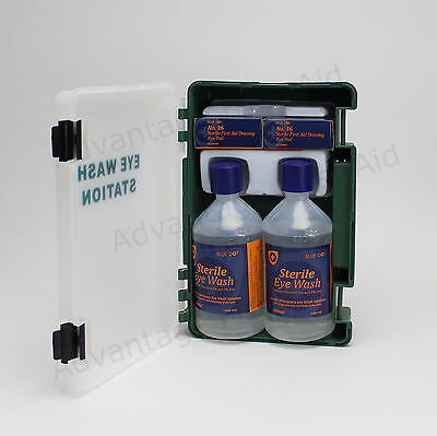 Double Eye Wound Wash First Aid Station Wall Bracket, 500ml Bottles & Dressings