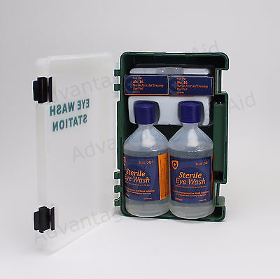 First Aid Double Eye Wash Station Wall Bracket, 500ml Bottles & Dressings