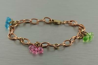 10K Rose Gold Oval Open Link Bracelet Blue Green Pink dangle Briolette 11.0gr 8""