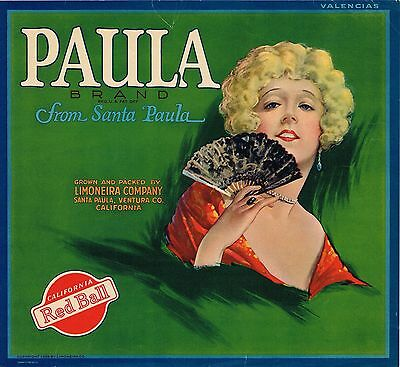 Paula Orange Crate Label Santa Paula Ventura County Vintage Original 1930S