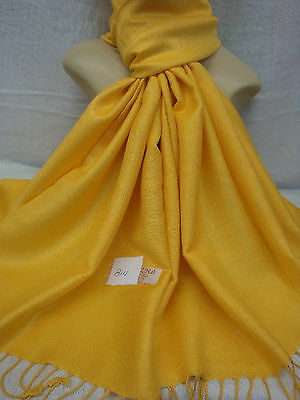 Wholesale 12Pcs Pashmina Cashmere Plain Color Wrap Scarf Stole Yellow