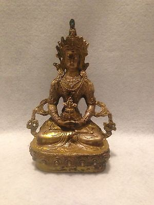 Antique Tibetan Gilt Bronze Figure Of Guanyin Buddha