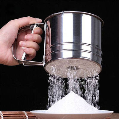 Stainless Mechanical Flour Sugar Icing Mesh Sifter Shaker Baking Kitchen Tools
