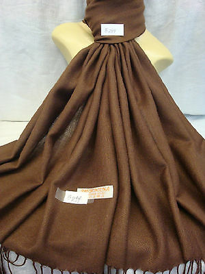 Wholesale 12Pcs Pashmina Cashmere Plain Color Wrap Scarf Stole Brown