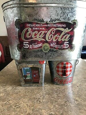 Lot of 3 Coca Cola Tin Ice Buckets ~ Ready For Summer Fun ~ Never Used