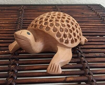 Wooden Carved Lattice Turtle Baby Inside