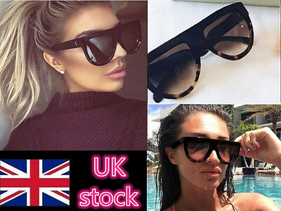 Womens Designer Oversized Sunglasses Flat Top Vintage Shadow Shield Celeb Chunky