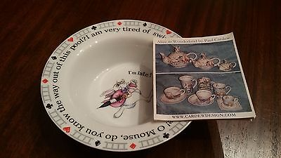 Paul Cardew Alice in Wonderland Child Cereal Soup Bowl Designed in England New