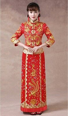 Chinese wedding dress QiPao cheongsam 46 Special Traditional Kwa XS Only Sample