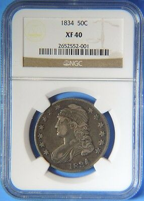 1834 Large Date Small Letters Capped Bust Silver Half Dollar O-106 NGC XF40