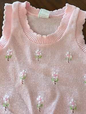Baby's Vintage Pink Sweater With White Flowers  Sz 18 mos.