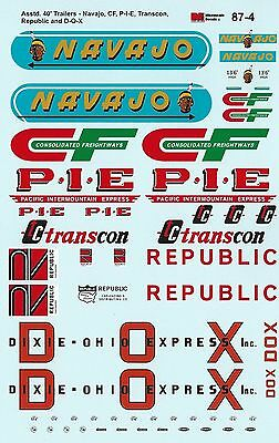 HO 1/87 Microscale MS-87-4 Decals Asst. 40' Trailers CF, DOX, Navajo, P-I-E, Rep