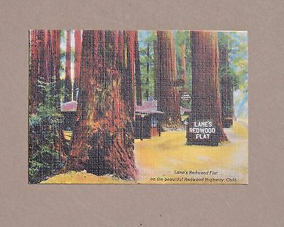 Lane's Redwood Flat CA Linen Finish Business Card Redwood Highway 1950s