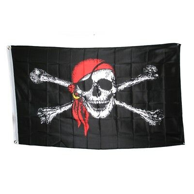 3 x 5 Ft. Pirate With Red Scarf Flag