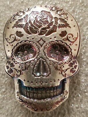 2 oz .999 Silver hand poured Skull art bar memento mori day of the dead Rose