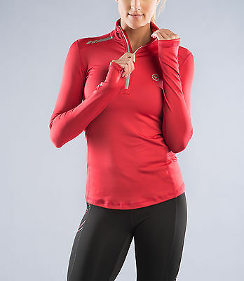 Women's thermal Stay Warm Long Sleeve Functional Fit Half Zip (ESiO1) in Red