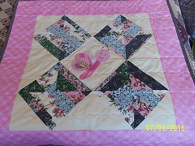Baby girl's pink butterfly quilt blanket, Nursery quilt blanket, Nursery bedding