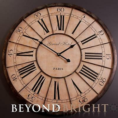 Wall Clock 60cm GRAND HOTEL Metal Wooden Industrial Vintage French Provincial