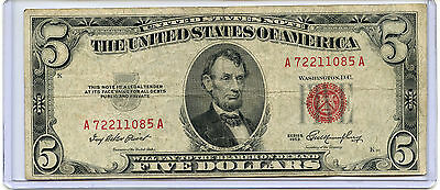 1953 $5 Bill USA American Currency Five Dollar Federal Reserve Note RED SEAL B