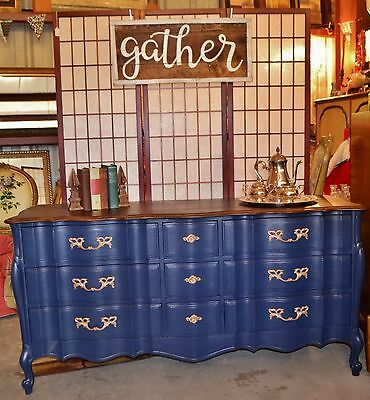 French Provincial Blue 9 Drawer Dresser / Buffet / Credenza / TV Console